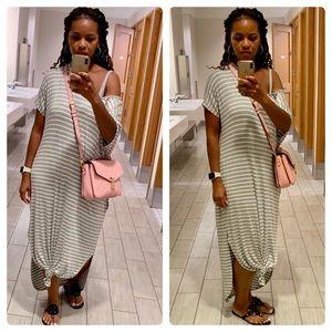 Maxi T-Shirt Dress in Gray & White Stripe